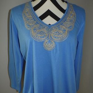 NWOT Oleg Cassini Large 12/14 Blue Top